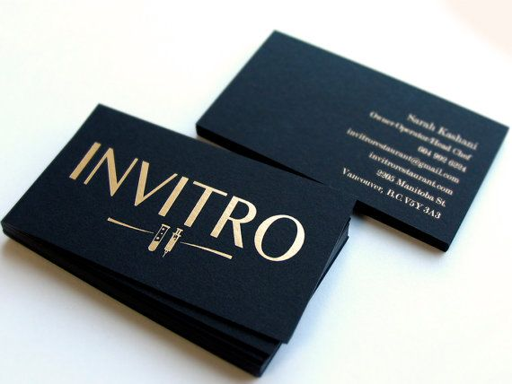 100 black business cards 700gsm foil on double sided matte gold - 100 Business Cards