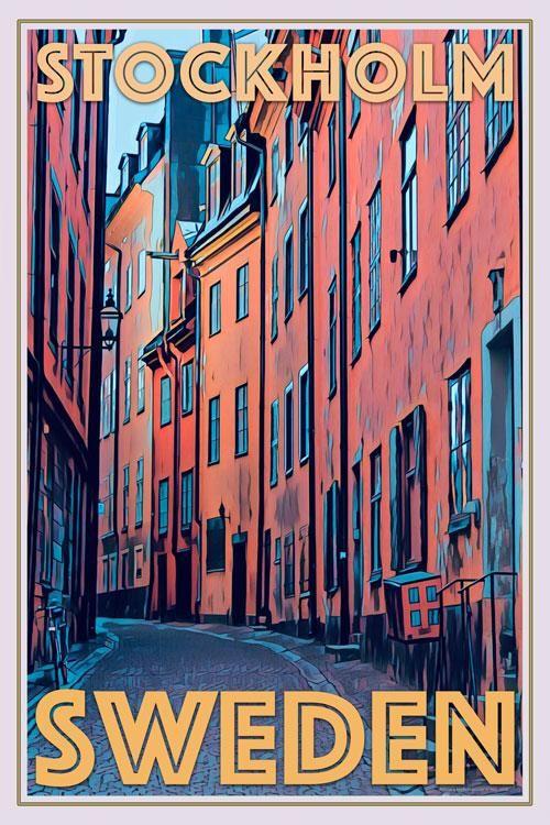 Old Town Stockholm Vintage Travel Poster In 2020 Travel Posters Retro Travel Poster Vintage Poster Design