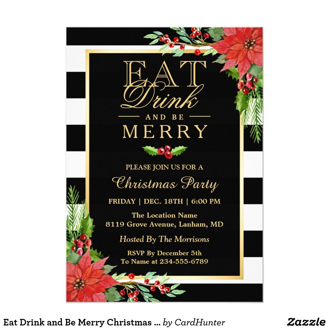 Eat Drink and Be Merry Christmas Party Invitation ...