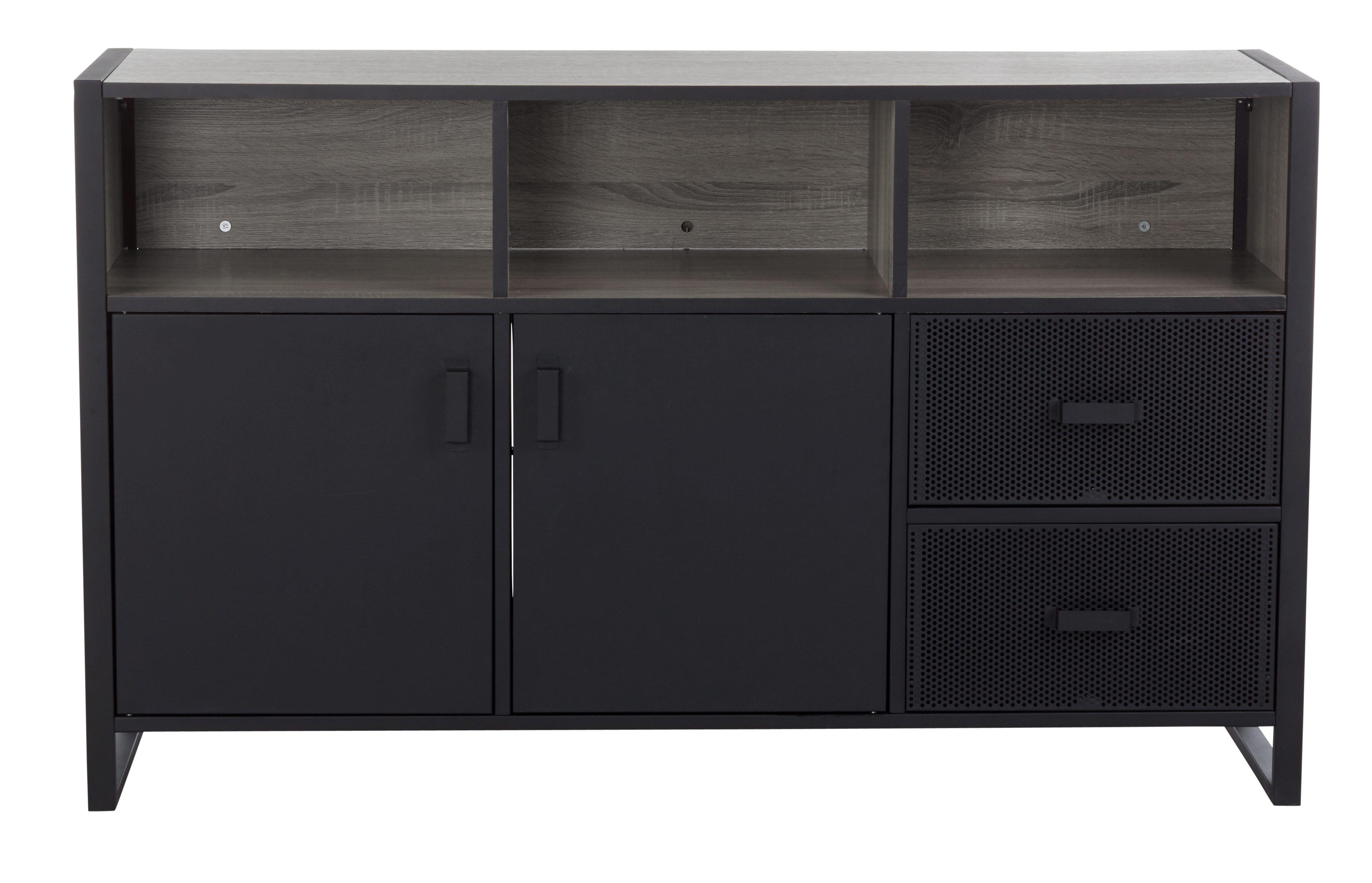 buffet 2p 2t park avenue noir mat style industriel. Black Bedroom Furniture Sets. Home Design Ideas