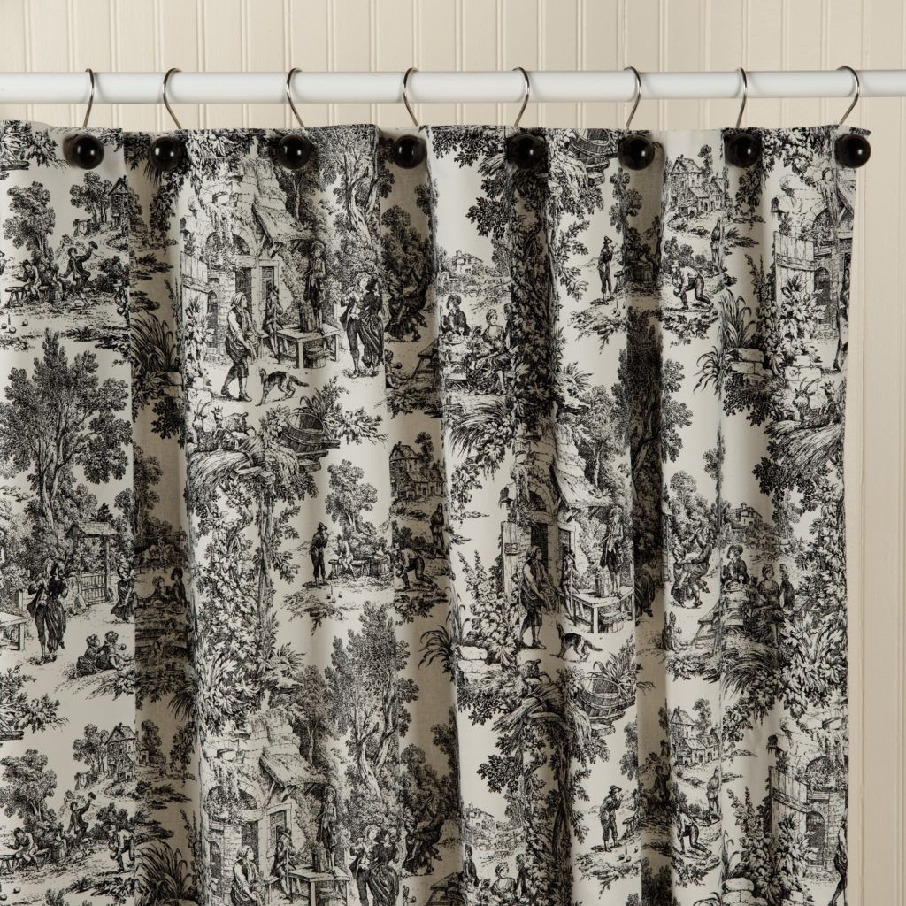 Toile Shower Curtain Black Cool Shower Curtains Black Curtains