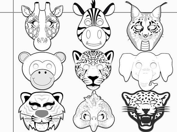 Jungle Animals Printable Coloring Masks jaguar tiger ...