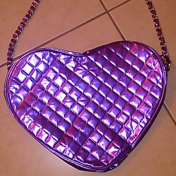 Purple Holographic Iridescent Heart Bag Vapor Wave Adorable iridescent bag not H&M H&M Bags Shoulder Bags