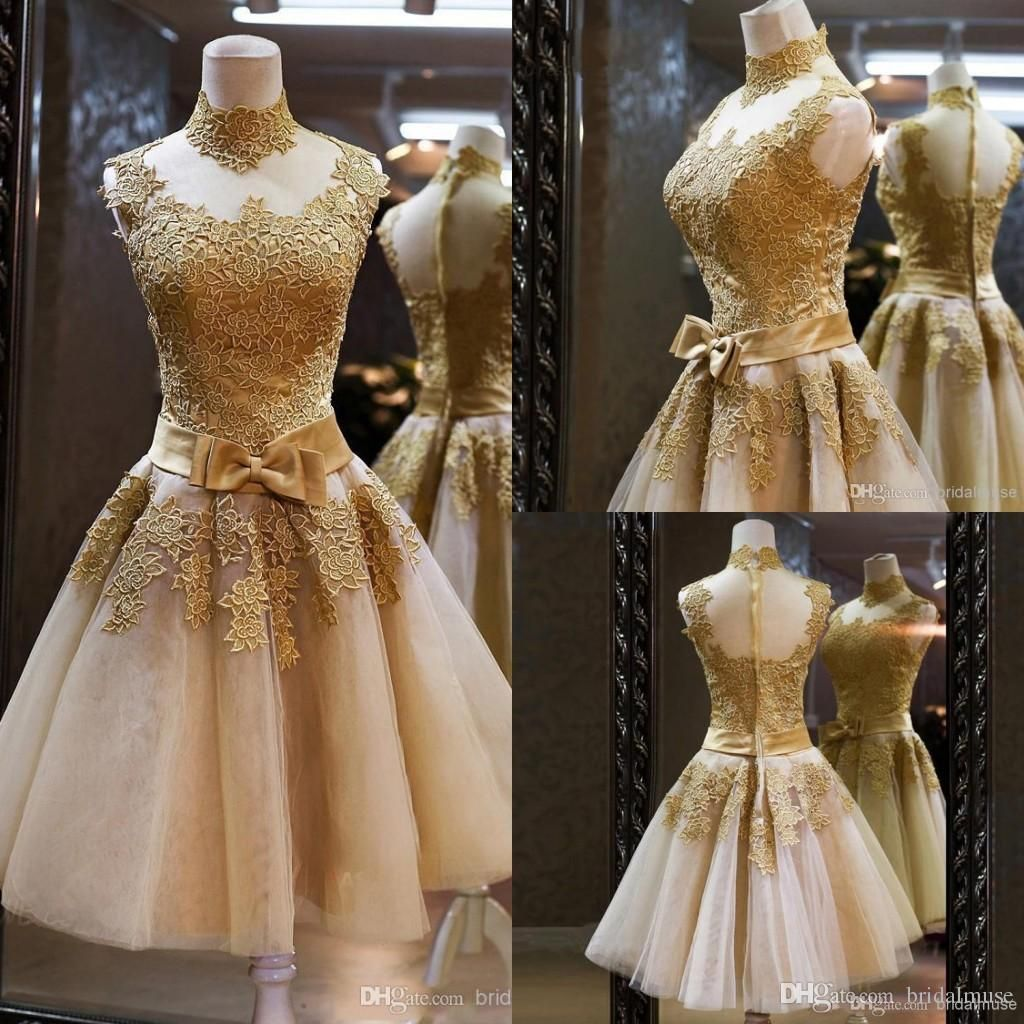 champagne prom dresses 2018 knee length