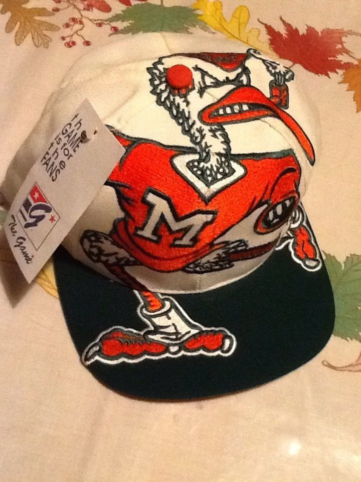 Vtg Rare Vintage University Of Miami Hurricanes The Game Big Logo Snapback  Hat  GAME Gorras 60522f64efc