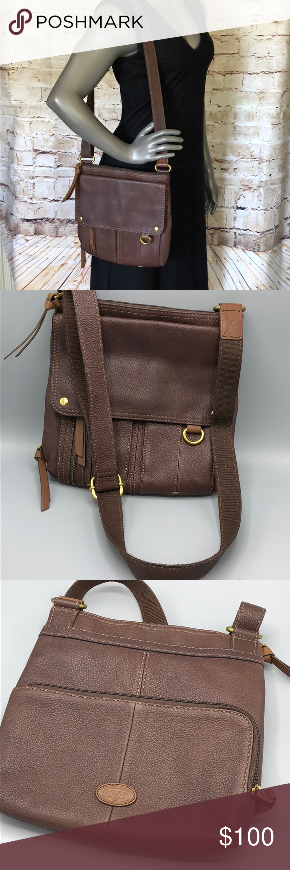a118cf08e02 Fossil Morgan Traveler Espresso Leather Crossbody This bag appears to be new  without tags no defects