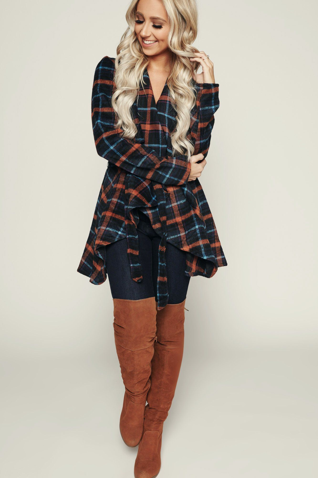 Best For Me Plaid Jacket Navy Trendy Clothes For Women
