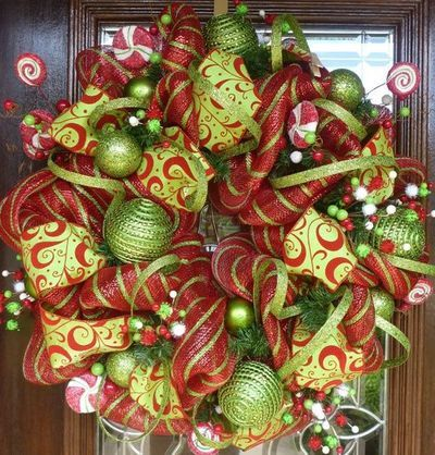 Deco Mesh Christmas Wreath Ideas Knitting Crochet Pinterest