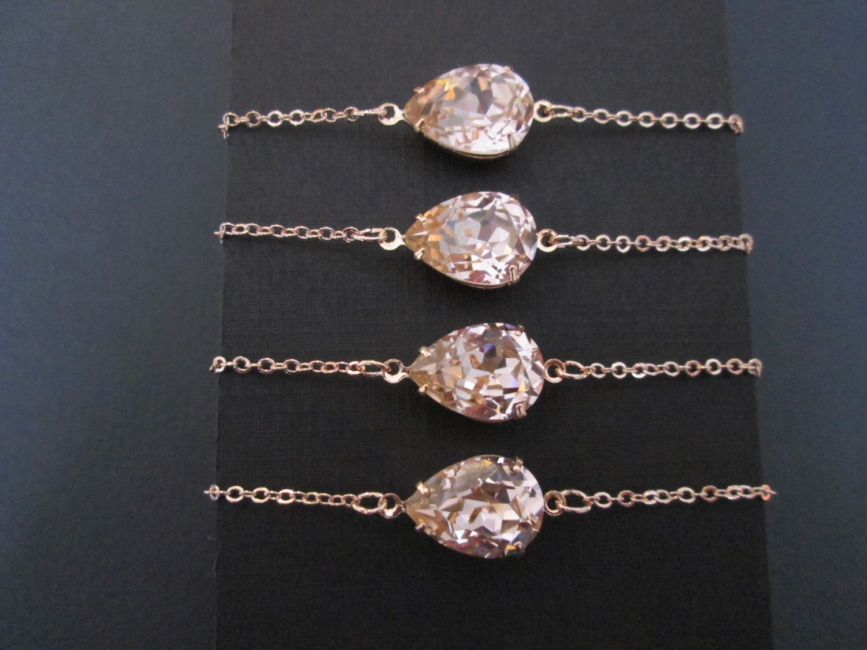Set of rose gold swarovski crystal braceletrose gold