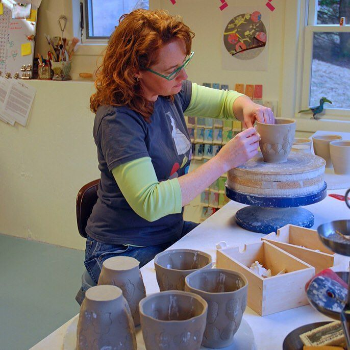 """I'm delighted to share an interview I did with fellow artist Missy Graff Ballone for her website and blog Wellness for Makers (@wellnessformakers). She created the site with mission of creating a resource for artists to share and learn about sustainable studio practices. My conversation with her includes standing to throw studio ergonomics and being """"purposefully inefficient."""" Thanks Missy!  by kiefferceramics"""