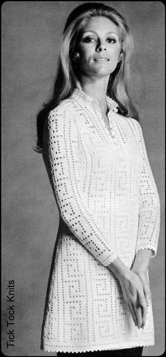 No83 Vintage Crochet Pattern Pdf Womens Filet Crochet Tunic Or