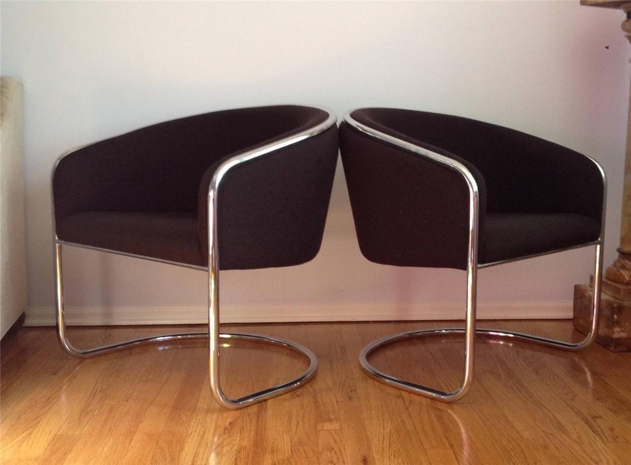 PR Vintage Mid Century Modern Thonet Chrome Cantilever Club Lounge Barrel  Chairs | EBay