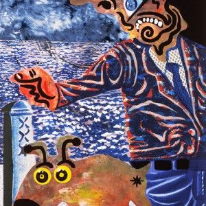 Le promeneur et son chien matériaux divers sur carton, 80 x 60 cm, 1994