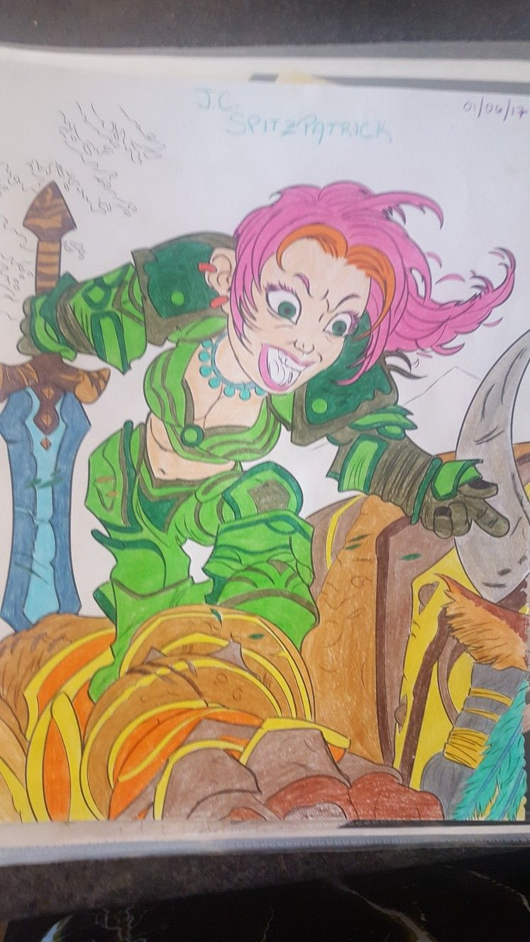 Female Gnome Warrior World of Warcraft Coloring Page