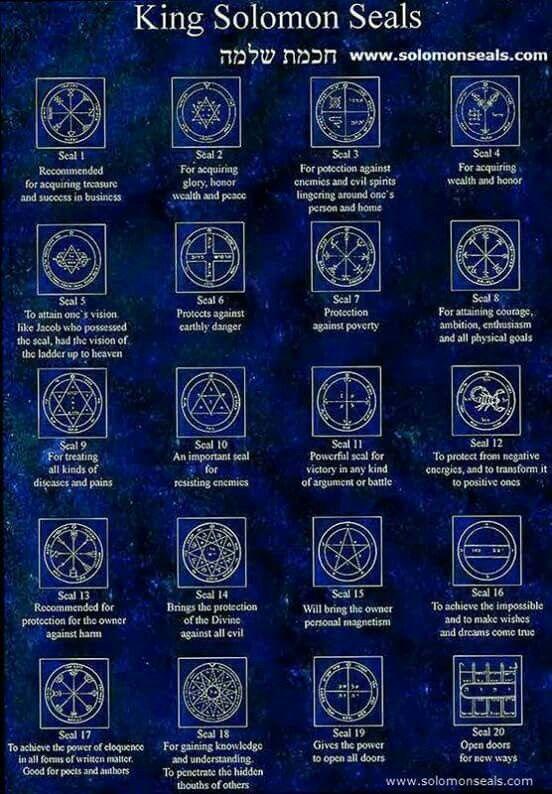Seal Aka Keys To Principalities Given To Solomon Seals Symbols