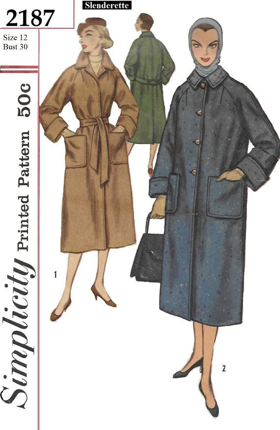 Simplicity 2187 Womens 50s Winter Coat Sewing Pattern Bust 30