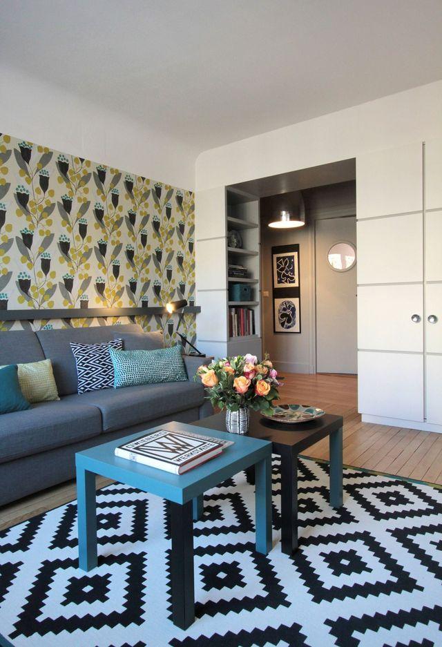 studio paris 7 am nager un petit appartement de 40 m2. Black Bedroom Furniture Sets. Home Design Ideas