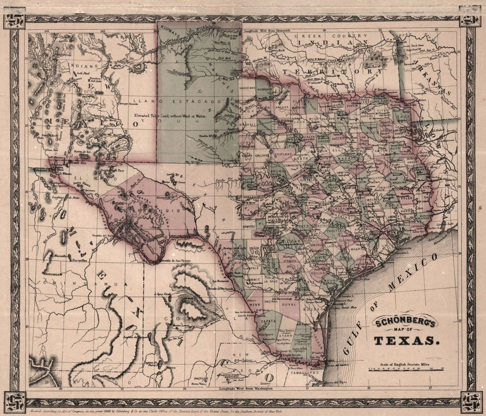 Map Of Western Texas.1866 Map Of Texas 16 X13 Antique Print Western America History