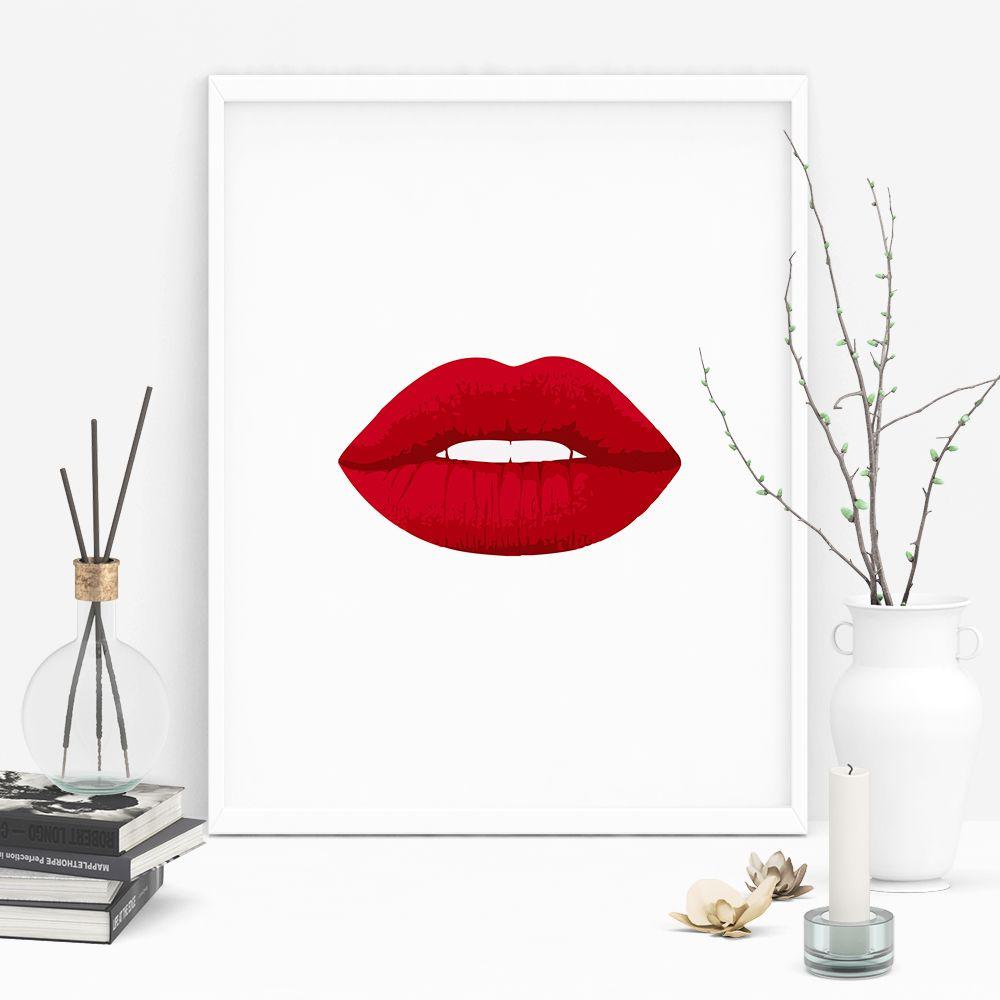 Red Lips Wall Art Lips Poster Digital Download Red Lips Etsy Makeup Wall Art Makeup Room Decor Pop Art Posters