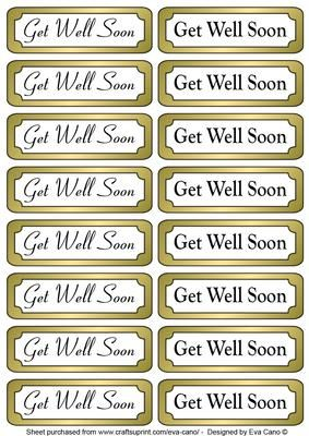 Get Well Soon gold tags on Craftsuprint designed by Eva Cano - 16 Get Well Soon horizontal tags for Male and Female occasions to add to your cards. Please have a look at my other designs by clicking on my name. - Now available for download!