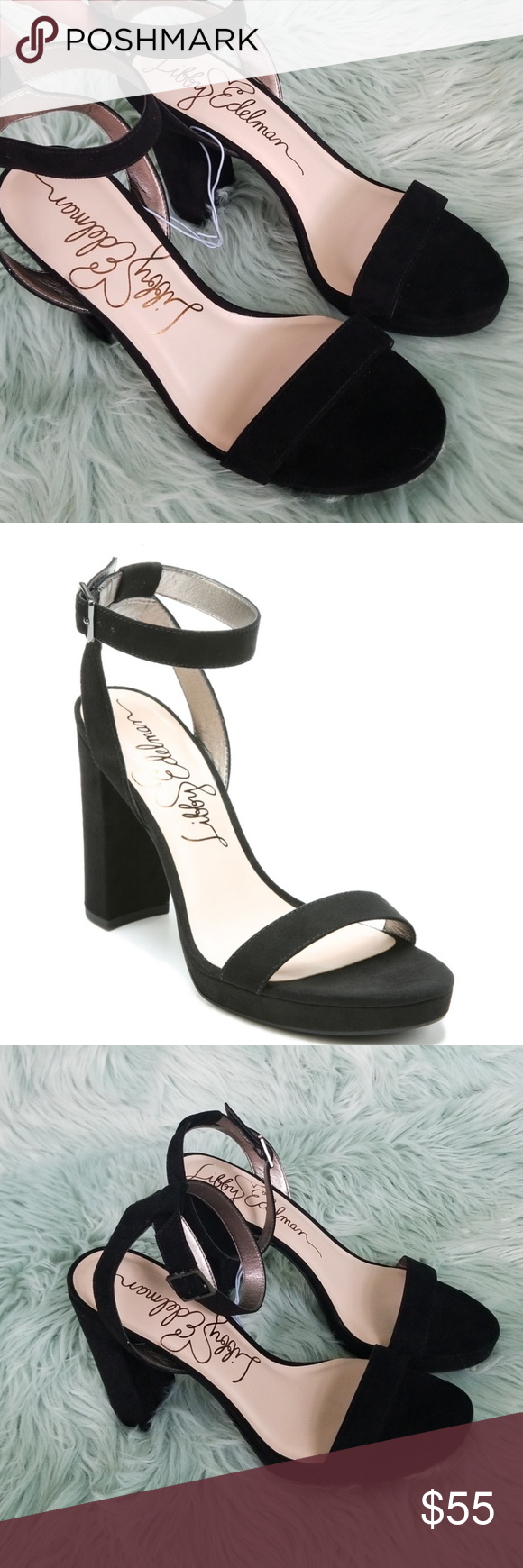 3c73d27532daf2 Libby Edelman Strap High Heels New Beautiful Libby Edelman black heels. A  soft velvet texture with an ankle strap and strap that goes over the foot  and a 4 ...