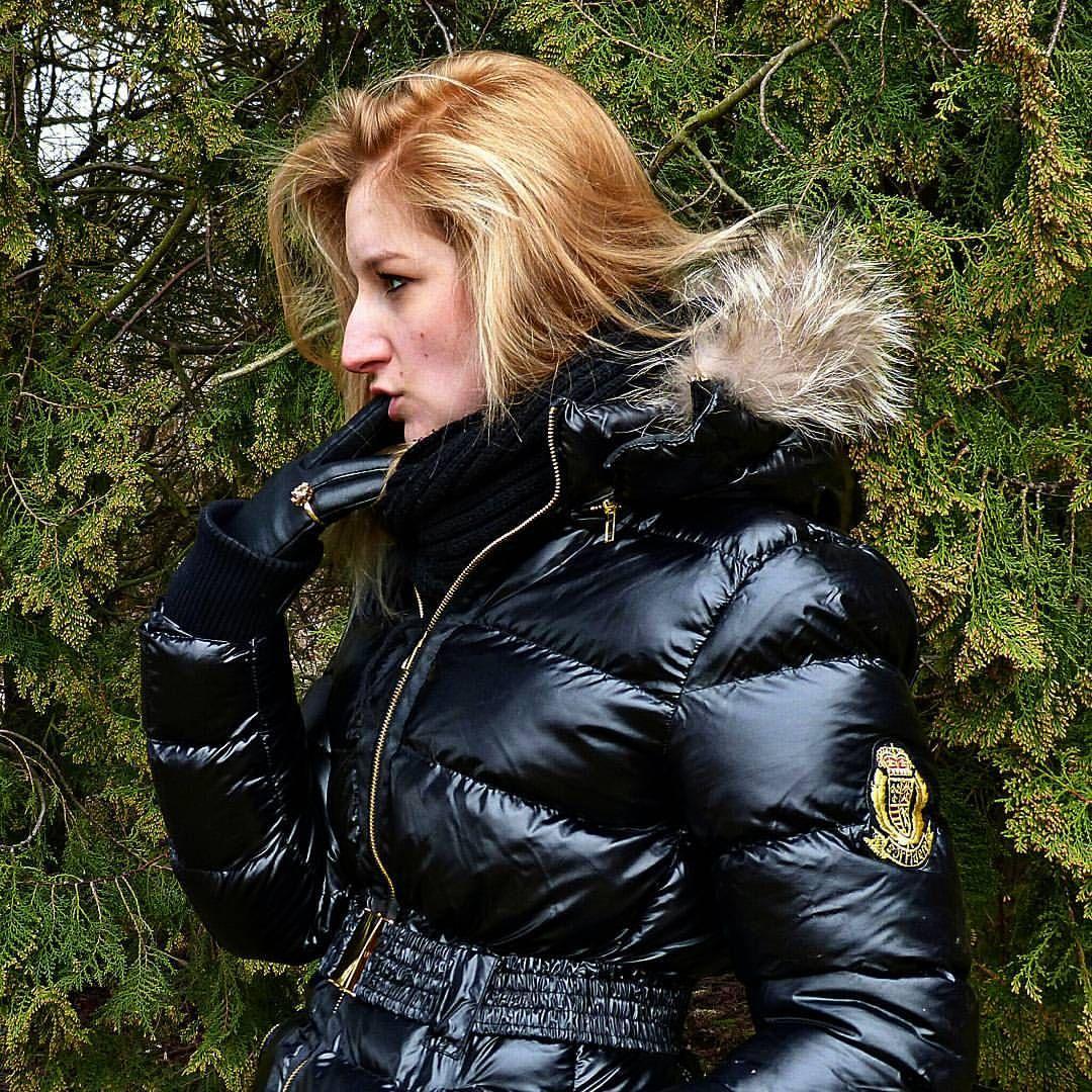 blonde black puffy jacket