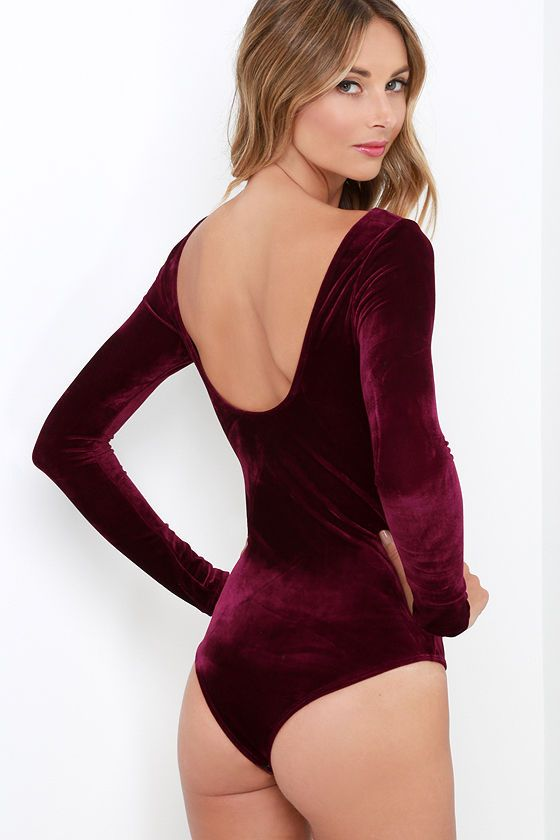 Lingerie red burgundy bodystocking sleeves open neck brunette- behind.  Feline Frisky Burgundy Velvet Bodysuit at Lulus.com! 9ce5ee352