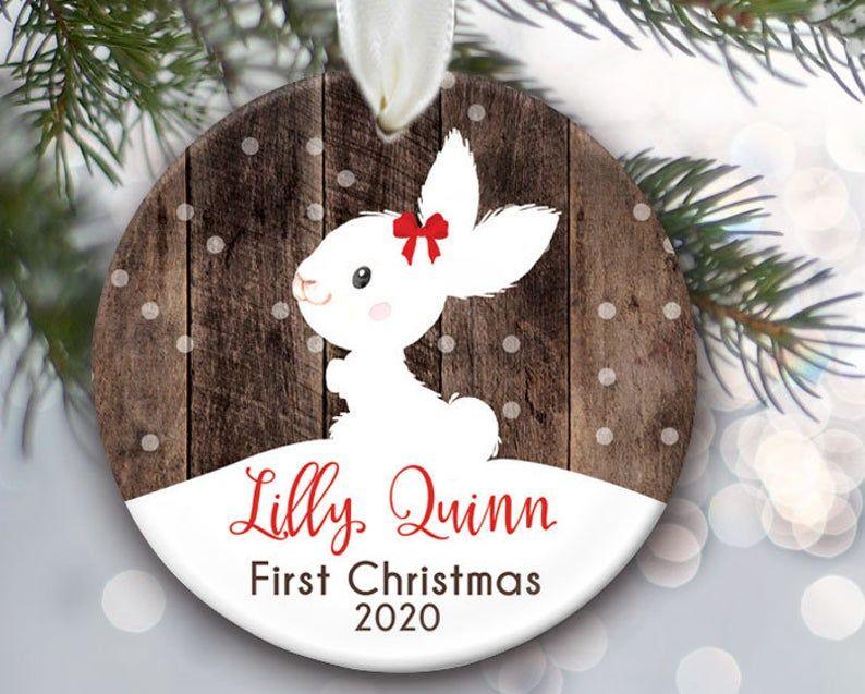 Rabbit Ornament Personalized Bunny Christmas Ornaments Etsy In 2020 Baby First Christmas Ornament First Christmas Ornament Christmas Ornaments