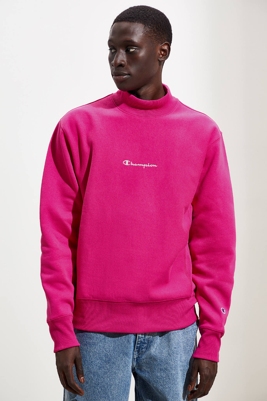 Champion Uo Exclusive Script Logo Mock Neck Pink Sweatshirt Mock Neck Sweatshirt Long Sleeve Tshirt Men Sweatshirts [ 1500 x 1000 Pixel ]