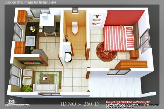 3d Isometric Views Of Small House Plans One Bedroom House Tiny House Interior Design One Bedroom House Plans