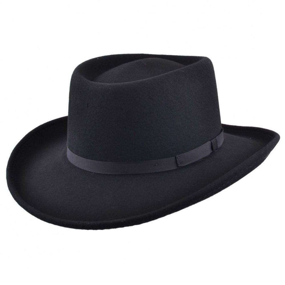 a25c2805c93 Mens Black Vintage 100% Wool Felt Crushable Gambler Cowboy Hat Curved Wide  Brim