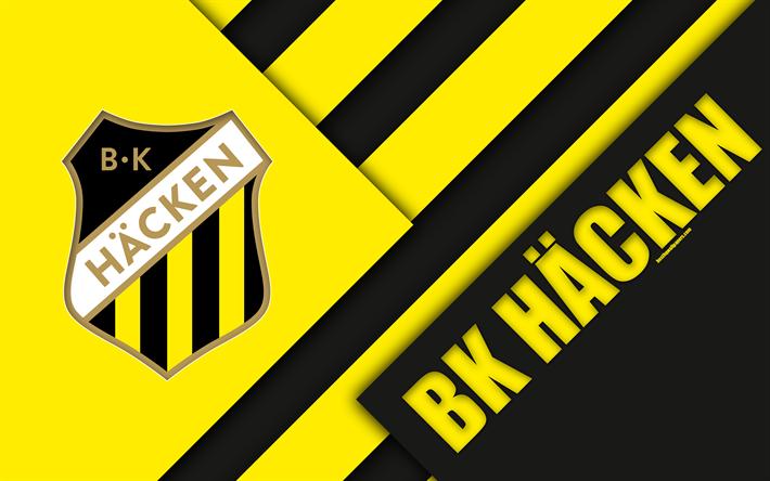 Herunterladen Hintergrundbild Bk Häcken, 4k, Logo, Material, Design,  Schwedische Fußball