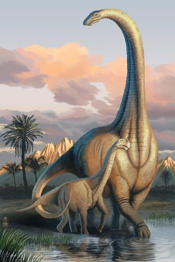Apatosaurus Dinosaur (6 Sizes Art Prints, Giclees, Posters, Wood & Metal Signs, Tote Bag, Towel)