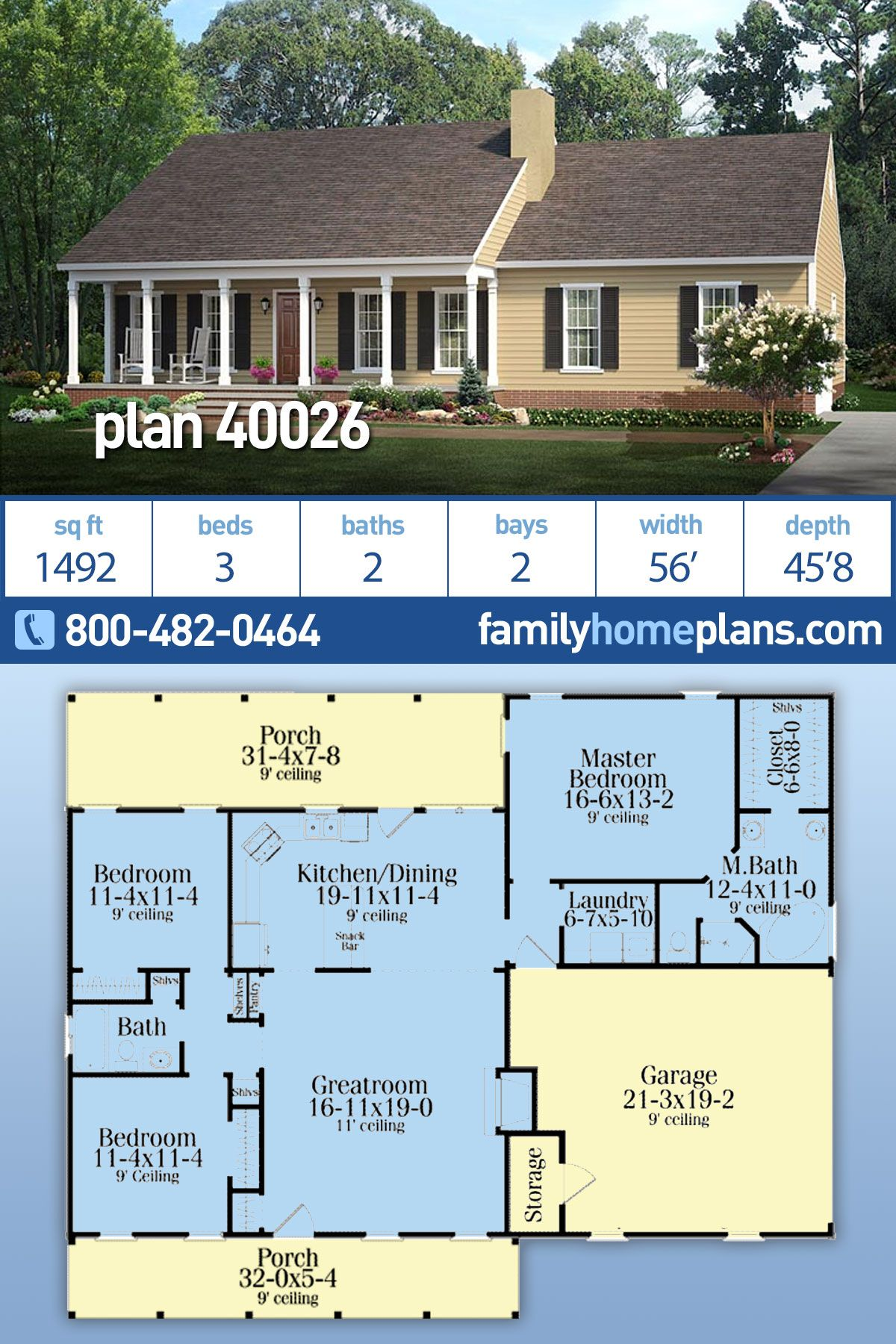 Country Ranch Style House Plan 40026 With 3 Bed 2 Bath 2 Car Garage Ranch House Designs Simple Ranch House Plans Family House Plans