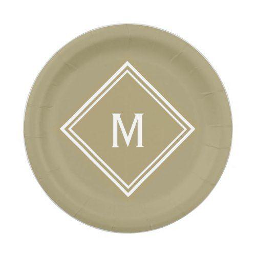Modern Stylish Khaki Tan Custom Monogram Paper Plate  sc 1 st  Pinterest & Modern Stylish Khaki Tan Custom Monogram Paper Plate | Party Paper ...