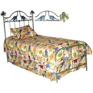 Kids Standard Bed W/ Dinosaurs and Palm Tree