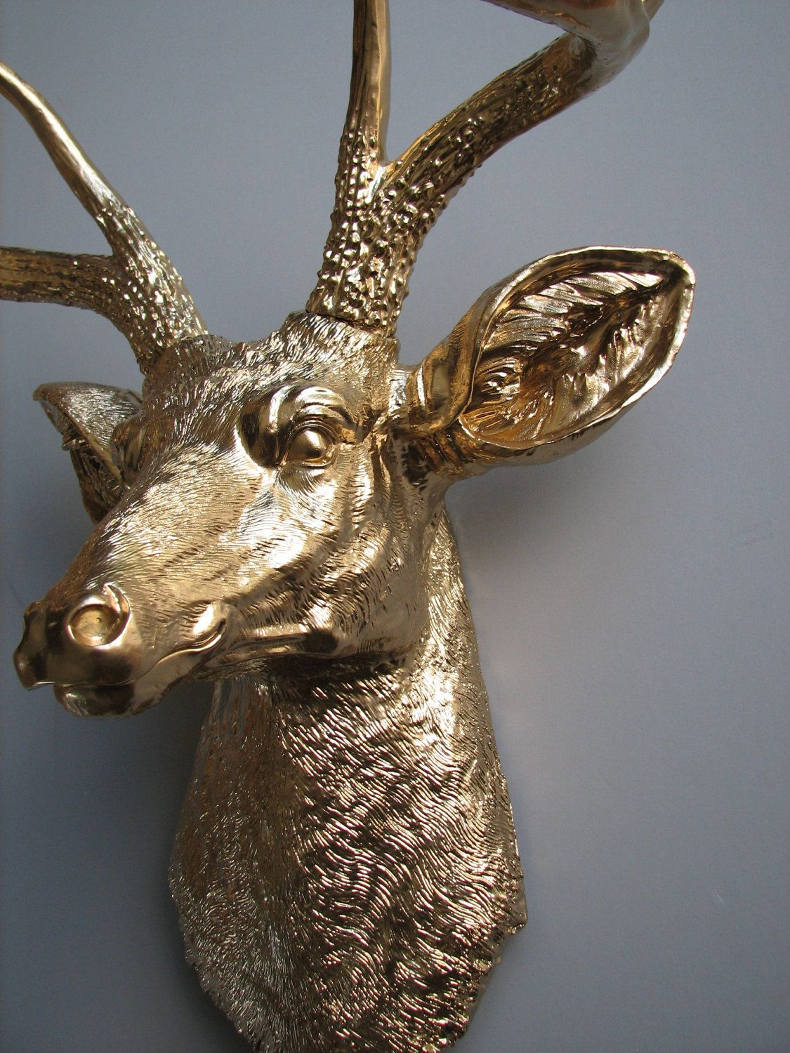 Fake Taxidermy Deer Head Gold Deer Head Faux Taxidermy Wall Hanging Wall Mount
