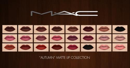 "maccosimetics "" ""Autumn"" Matte Lip Collection by MAC"