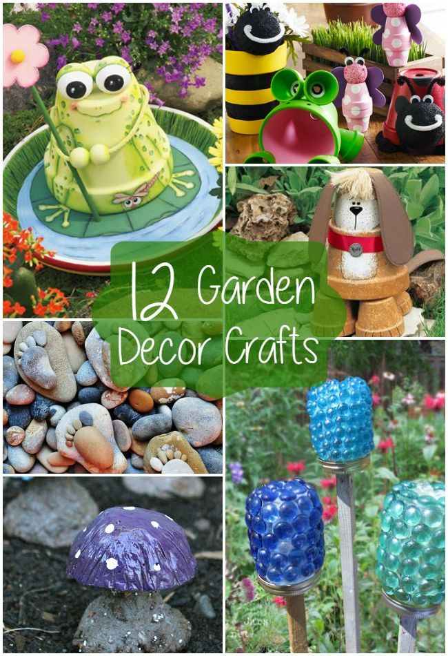 12 garden decor crafts decor crafts gardens and craft for Homemade garden decorations