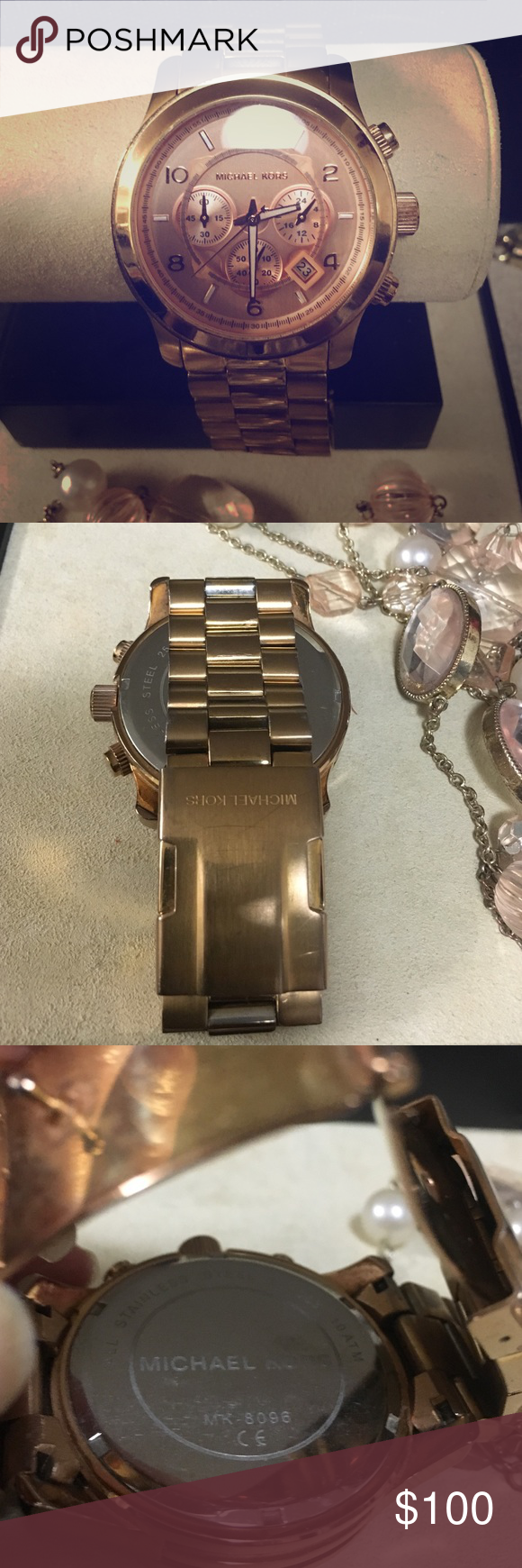 Michael Kors Watch Rose Gold MK WATCH was adjusted to fit me, still have links no stretches or scuffs on face a few on the band. Other than that it's in great shape. KORS Michael Kors Accessories Watches
