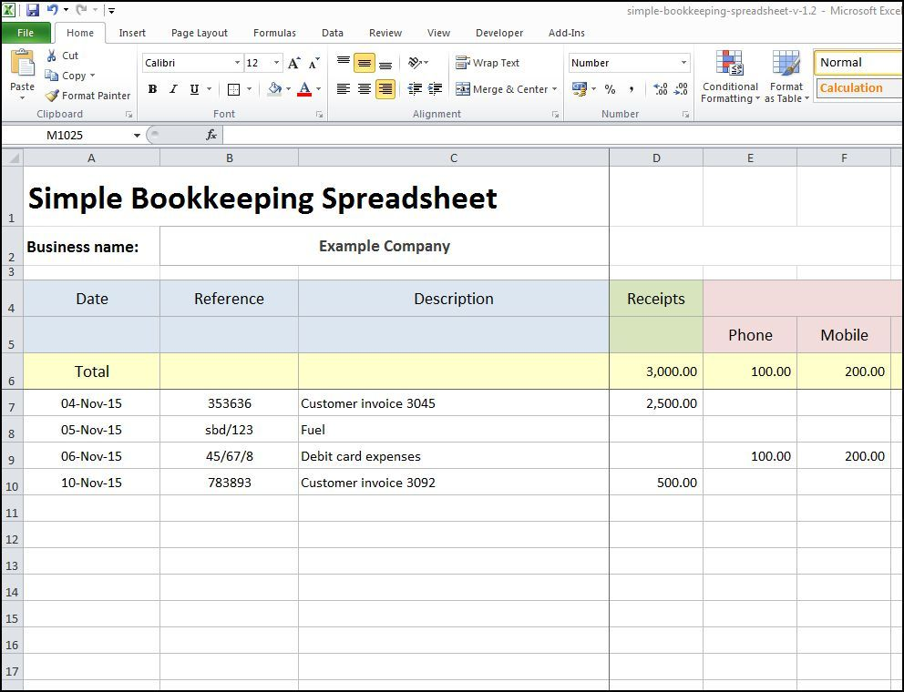 spreadsheet for small business