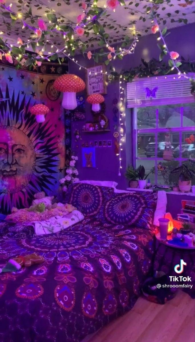 All Creds To Shroomfairy On Tiktok In 2021 Room Ideas Bedroom Room Design Bedroom Retro Room Bedroom decor ideas tiktok