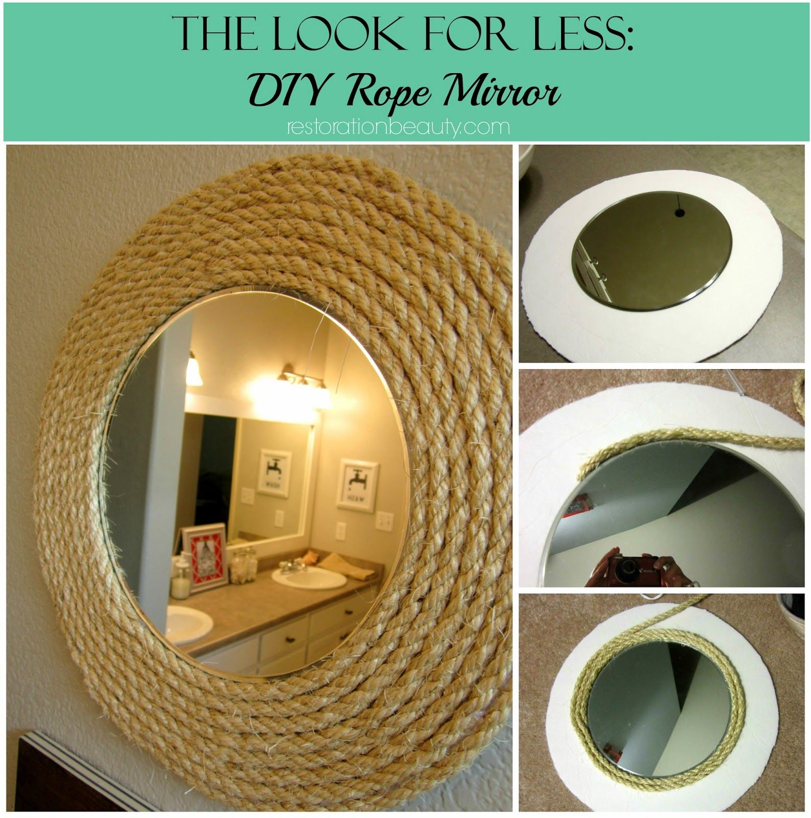 Diy Nautical Rope Mirror How To Make Rounded Or Square Rope Mirror Rope Mirror Nautical Rope Mirror Nautical Diy