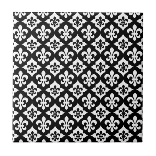 Fleur De Lis Ceramic Tiles Black White Pattern