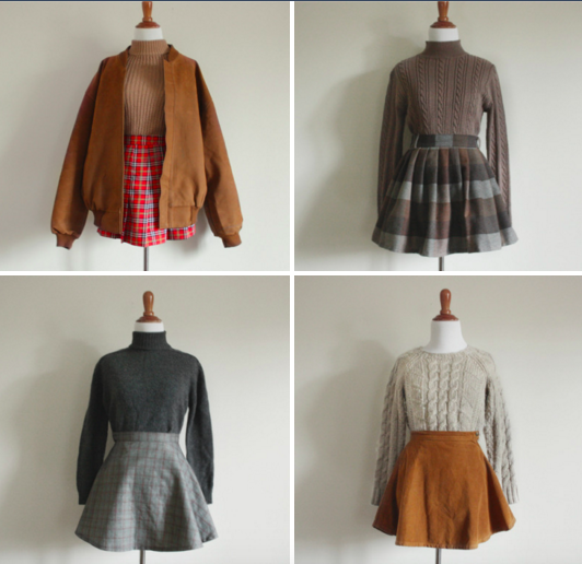 Plaid Skirts Turtlenecks Tumblr Outfits Grunge Indie Clothes Vintage Blog