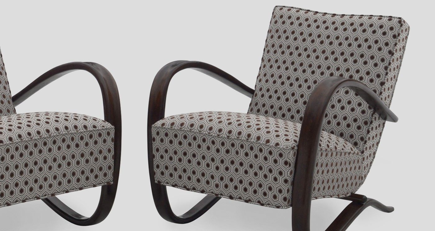Jindrich Halabala Sessel Halabala H 269 Lounge Chairs Restored And Redesigned By Galeria
