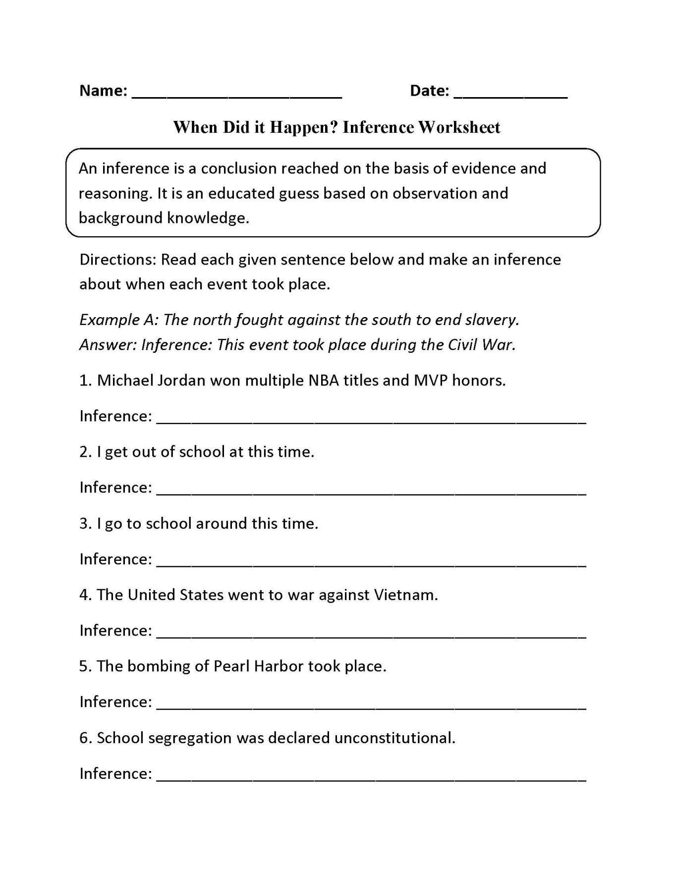 4th Grade Inferencing Worksheets Science Worksheets Inferring Lessons Inference