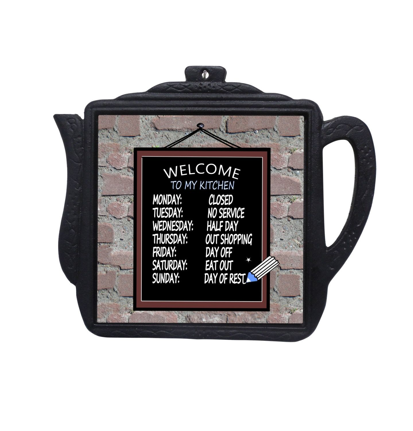 Welcome To My Kitchen Sign, Kitchen Wall Decor, Wrought Iron Trivet, Funny  Kitchen