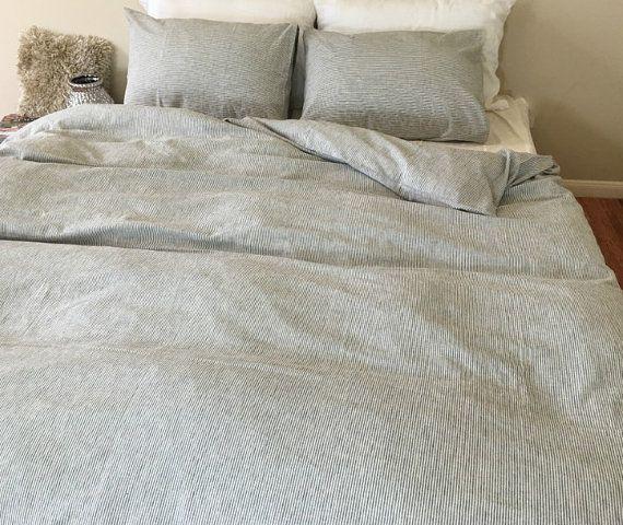 Subtle Black White Striped Duvet Cover In Natural Linen Etsy Striped Duvet Covers Striped Duvet Pinstripe Bedding