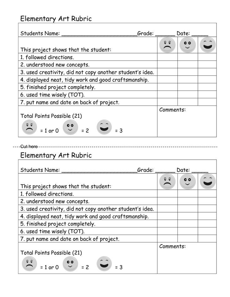 elementary rubrics Assessments Pinterest Rubrics, Art - student self assessment